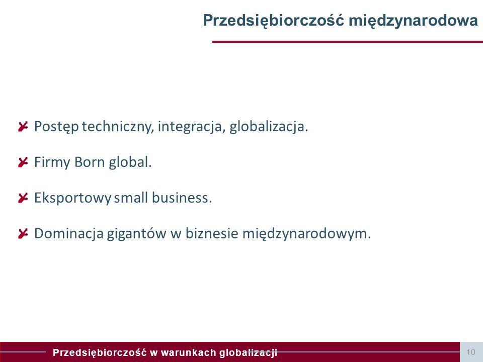 Przedsiębiorczość w warunkach globalizacji Przedsiębiorczość międzynarodowa Postęp techniczny, integracja, globalizacja. Firmy Born global. Eksportowy