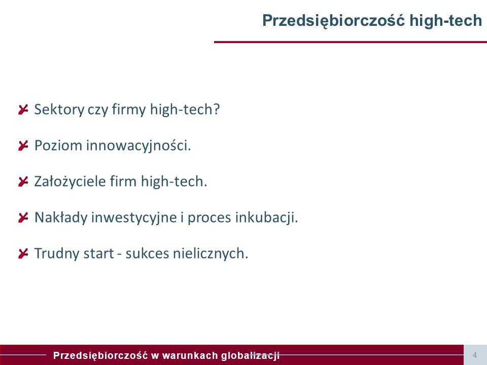 Przedsiębiorczość w warunkach globalizacji Przedsiębiorczość high-tech Sektory czy firmy high-tech? Poziom innowacyjności. Założyciele firm high-tech.