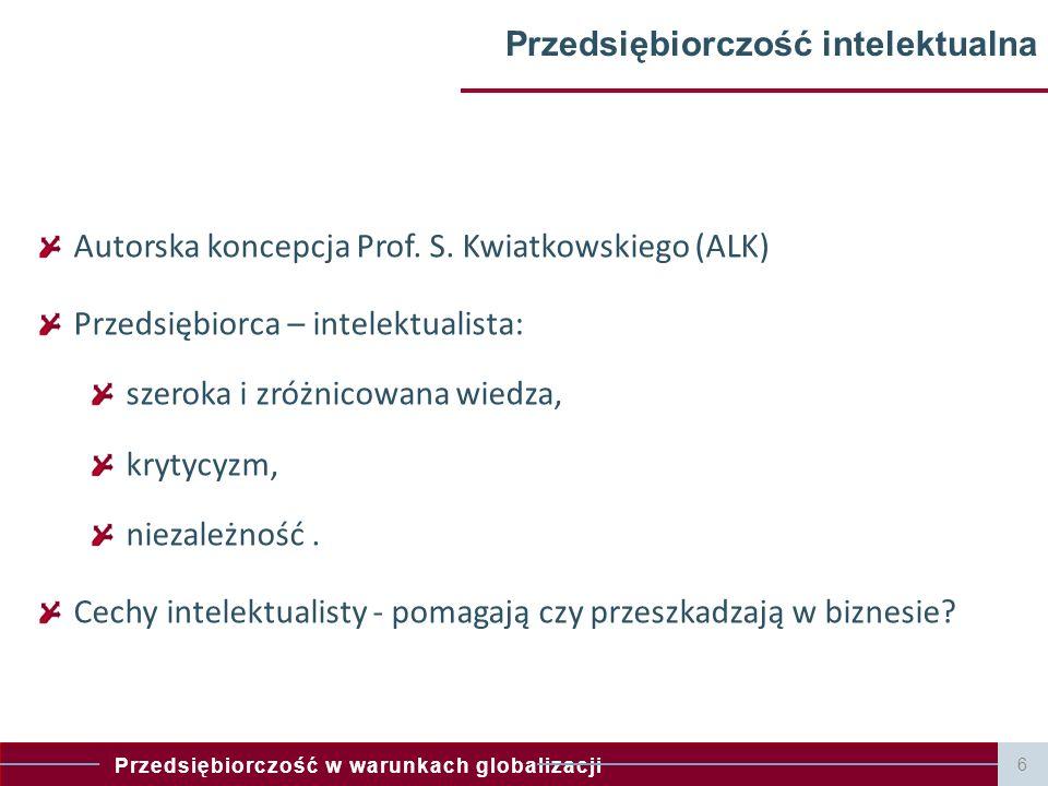 Przedsiębiorczość w warunkach globalizacji Przedsiębiorczość intelektualna Autorska koncepcja Prof. S. Kwiatkowskiego (ALK) Przedsiębiorca – intelektu