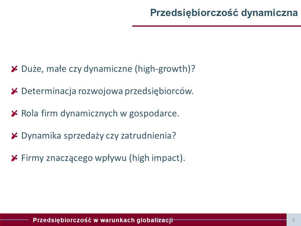 Przedsiębiorczość w warunkach globalizacji Przedsiębiorczość dynamiczna Duże, małe czy dynamiczne (high-growth)? Determinacja rozwojowa przedsiębiorcó
