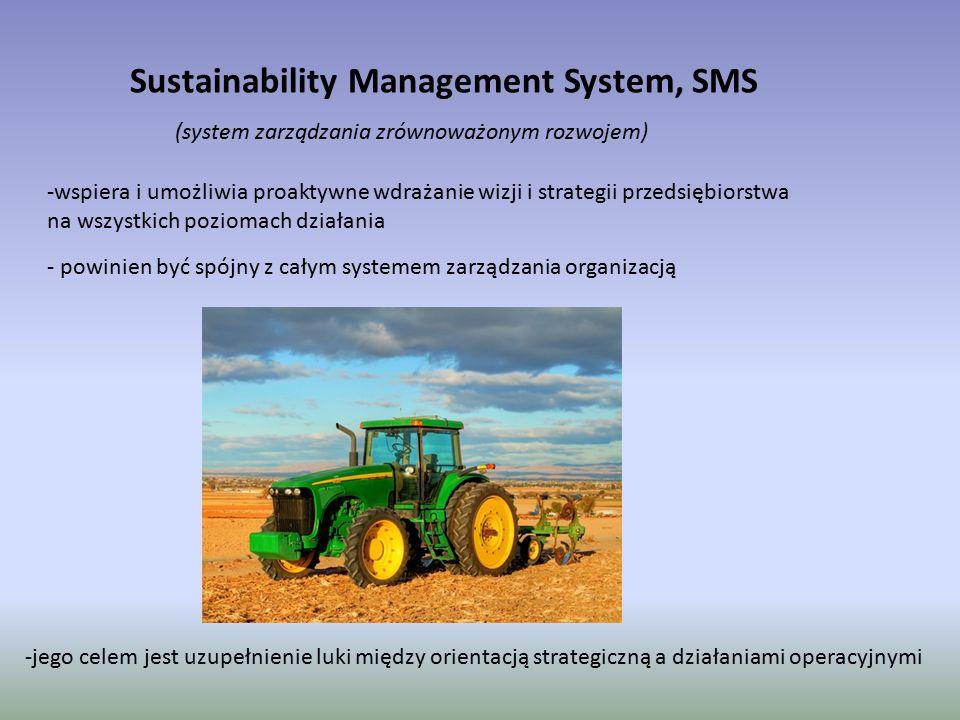 Sustainability Management System, SMS (system zarządzania zrównoważonym rozwojem) - powinien być spójny z całym systemem zarządzania organizacją -jego celem jest uzupełnienie luki między orientacją strategiczną a działaniami operacyjnymi -wspiera i umożliwia proaktywne wdrażanie wizji i strategii przedsiębiorstwa na wszystkich poziomach działania