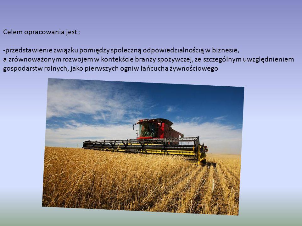 Celem opracowania jest : -przedstawienie związku pomiędzy społeczną odpowiedzialnością w biznesie, a zrównoważonym rozwojem w kontekście branży spożywczej, ze szczególnym uwzględnieniem gospodarstw rolnych, jako pierwszych ogniw łańcucha żywnościowego