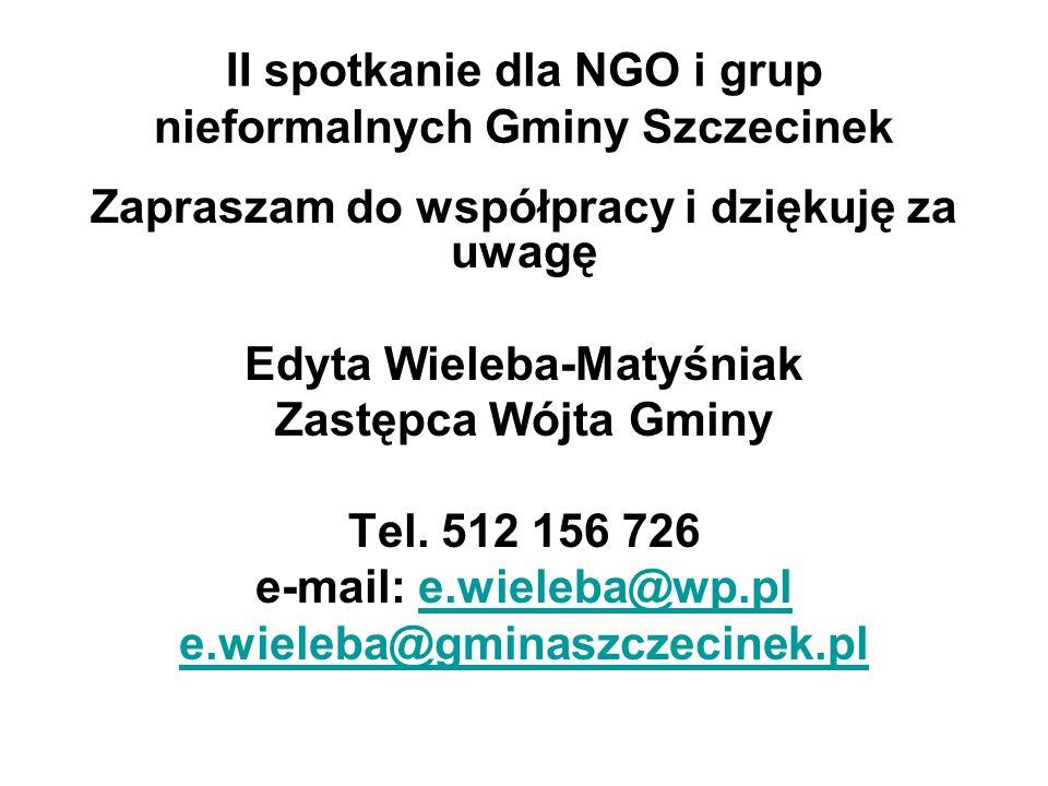II spotkanie dla NGO i grup nieformalnych Gminy Szczecinek Zapraszam do współpracy i dziękuję za uwagę Edyta Wieleba-Matyśniak Zastępca Wójta Gminy Tel.