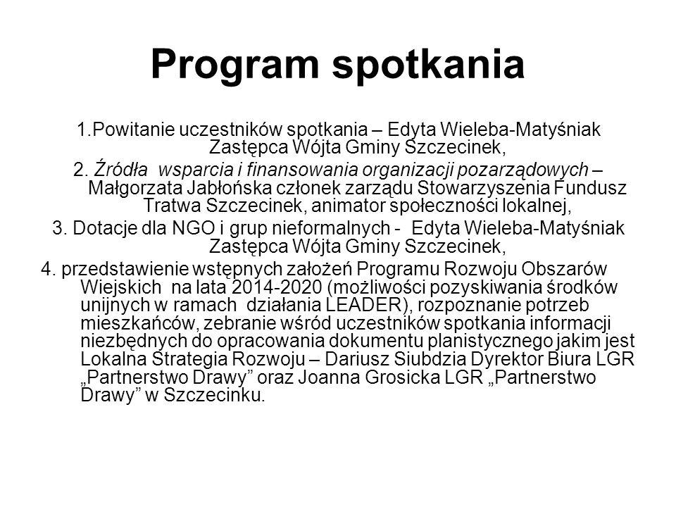 Program spotkania 1.Powitanie uczestników spotkania – Edyta Wieleba-Matyśniak Zastępca Wójta Gminy Szczecinek, 2.