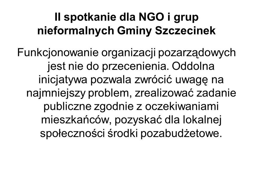 II spotkanie dla NGO i grup nieformalnych Gminy Szczecinek Funkcjonowanie organizacji pozarządowych jest nie do przecenienia.