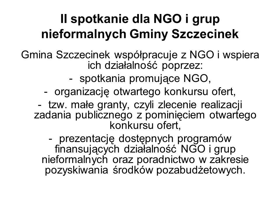 II spotkanie dla NGO i grup nieformalnych Gminy Szczecinek Gmina Szczecinek współpracuje z NGO i wspiera ich działalność poprzez: -spotkania promujące NGO, -organizację otwartego konkursu ofert, -tzw.