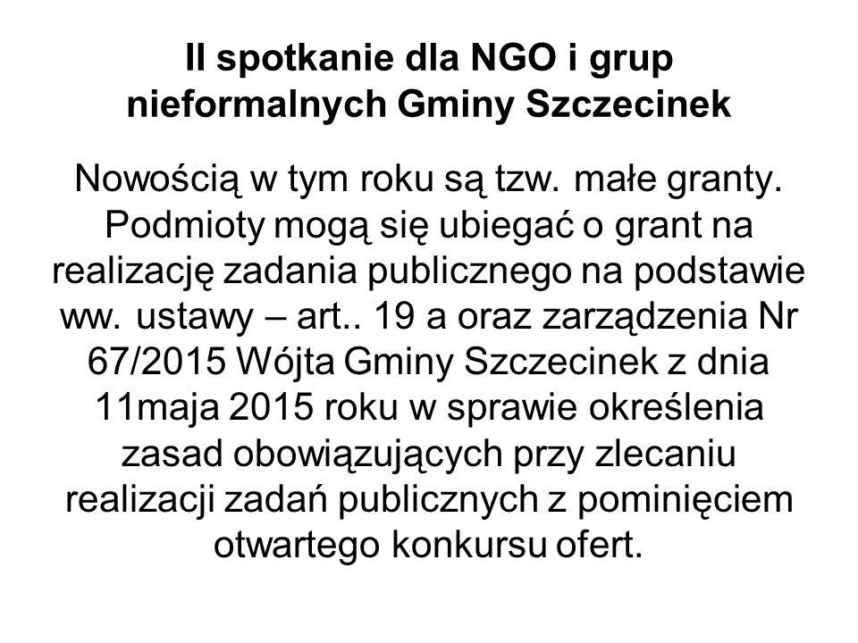 II spotkanie dla NGO i grup nieformalnych Gminy Szczecinek Nowością w tym roku są tzw.