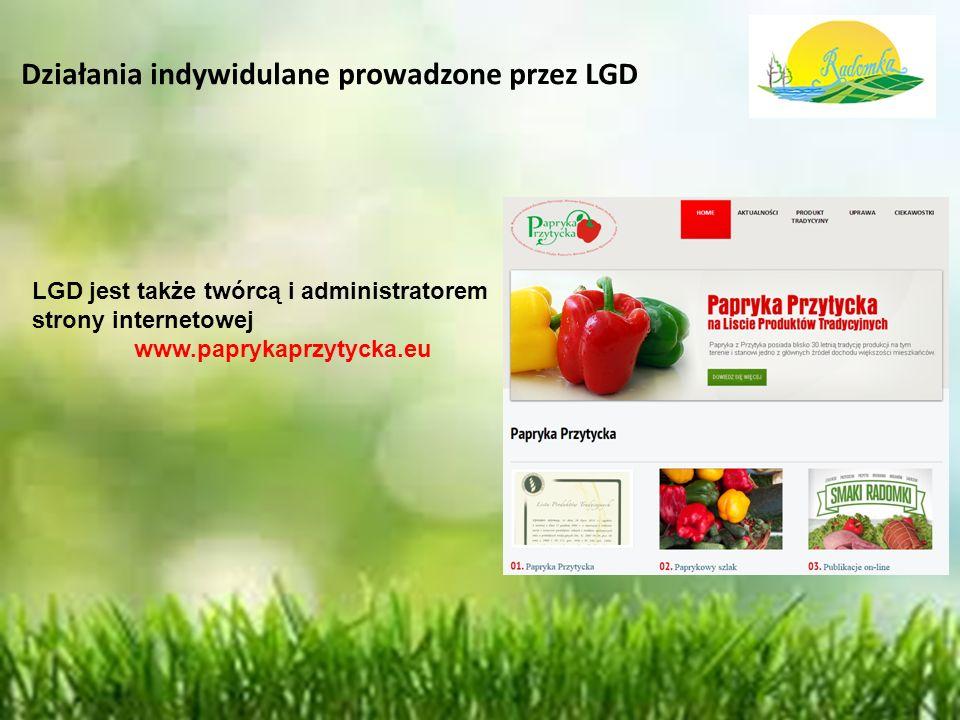 Działania indywidulane prowadzone przez LGD LGD jest także twórcą i administratorem strony internetowej www.paprykaprzytycka.eu