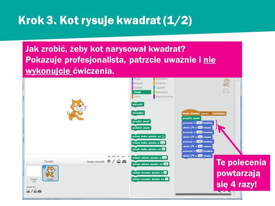 Krok 2. Kot się obraca i pozostawia ślad (2/2) Zobaczmy jak porusza się nasz kot. Niech kot zaznacza linią swoje kroki.