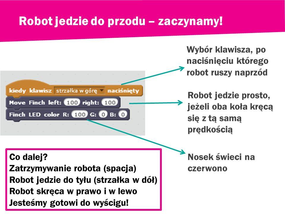 Nazywamy naszego robota i wybieramy kolor noska Świeci w kolorze: czerwonym zielonym niebieskim Dowolne liczby od 0 do 100 100 – max. jasność koloru