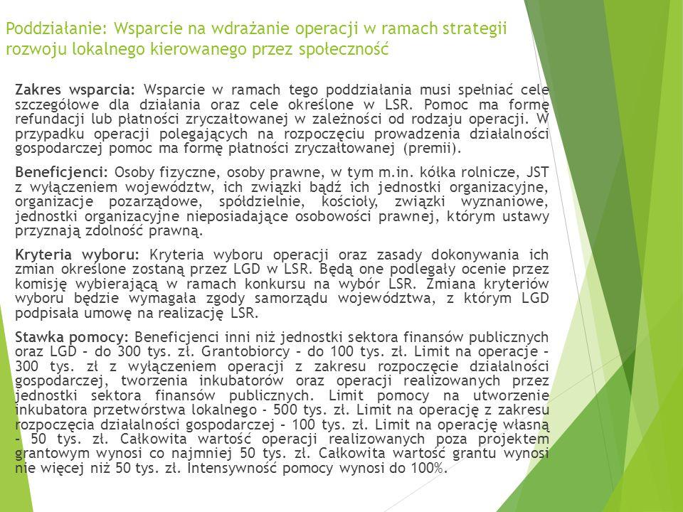 Poddziałanie: Wsparcie na wdrażanie operacji w ramach strategii rozwoju lokalnego kierowanego przez społeczność Zakres wsparcia: Wsparcie w ramach teg