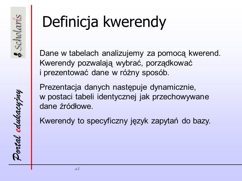 Portal edukacyjny A.Ś. Definicja kwerendy Dane w tabelach analizujemy za pomocą kwerend. Kwerendy pozwalają wybrać, porządkować i prezentować dane w r