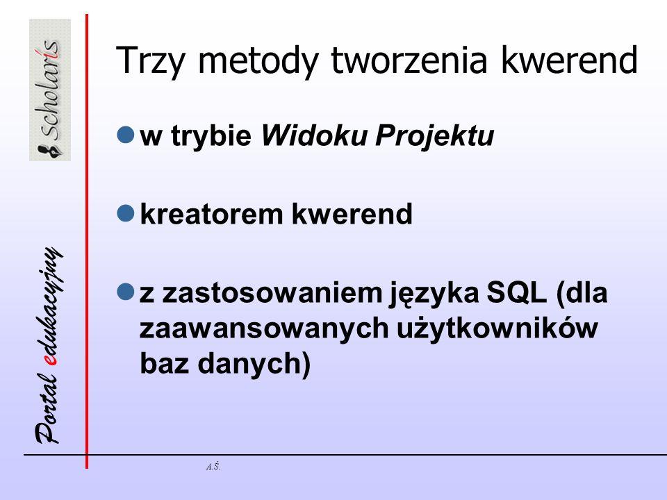 Portal edukacyjny A.Ś. Trzy metody tworzenia kwerend w trybie Widoku Projektu kreatorem kwerend z zastosowaniem języka SQL (dla zaawansowanych użytkow
