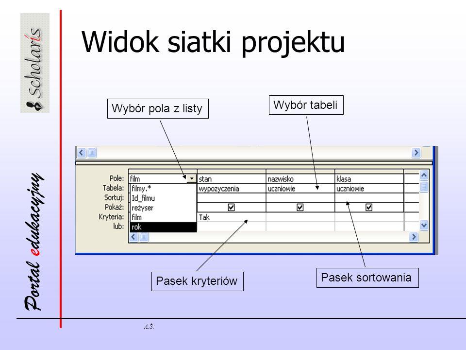 Portal edukacyjny A.Ś. Widok siatki projektu Wybór pola z listy Pasek kryteriów Pasek sortowania Wybór tabeli