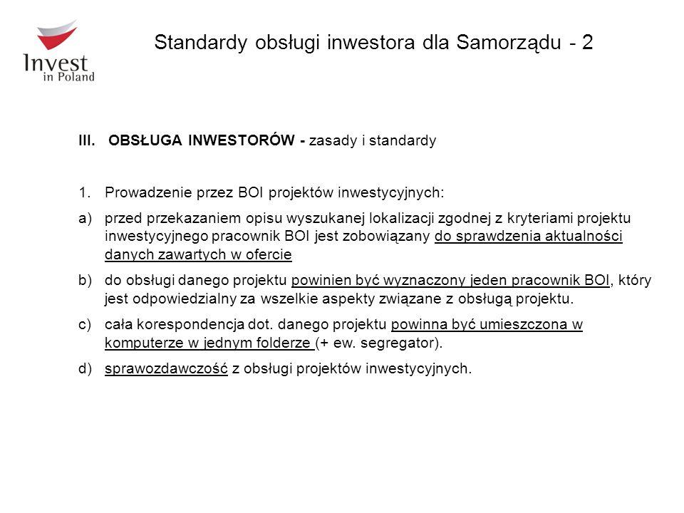 III.OBSŁUGA INWESTORÓW - zasady i standardy 1.Prowadzenie przez BOI projektów inwestycyjnych: a)przed przekazaniem opisu wyszukanej lokalizacji zgodne