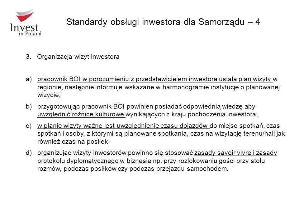 3.Organizacja wizyt inwestora a)pracownik BOI w porozumieniu z przedstawicielem inwestora ustala plan wizyty w regionie, następnie informuje wskazane
