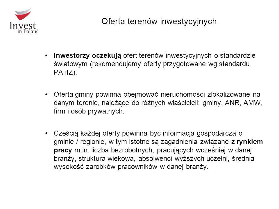 Oferta terenów inwestycyjnych Inwestorzy oczekują ofert terenów inwestycyjnych o standardzie światowym (rekomendujemy oferty przygotowane wg standardu