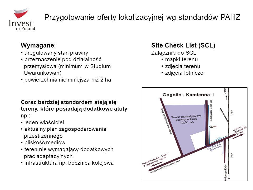 Przygotowanie oferty lokalizacyjnej wg standardów PAIiIZ Coraz bardziej standardem stają się tereny, które posiadają dodatkowe atuty np.: jeden właści