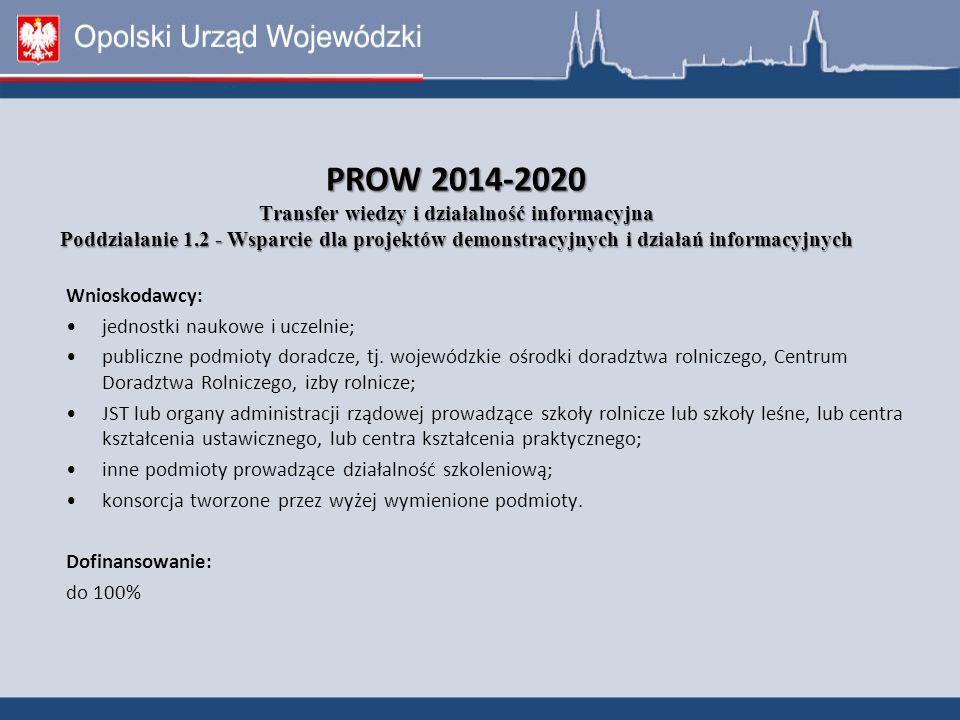 PROW 2014-2020 Transfer wiedzy i działalność informacyjna Poddziałanie 1.2 - Wsparcie dla projektów demonstracyjnych i działań informacyjnych Wnioskodawcy: jednostki naukowe i uczelnie; publiczne podmioty doradcze, tj.