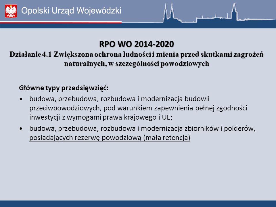 RPO WO 2014-2020 Działanie 4.1 Zwiększona ochrona ludności i mienia przed skutkami zagrożeń naturalnych, w szczególności powodziowych RPO WO 2014-2020 Działanie 4.1 Zwiększona ochrona ludności i mienia przed skutkami zagrożeń naturalnych, w szczególności powodziowych Główne typy przedsięwzięć: budowa, przebudowa, rozbudowa i modernizacja budowli przeciwpowodziowych, pod warunkiem zapewnienia pełnej zgodności inwestycji z wymogami prawa krajowego i UE; budowa, przebudowa, rozbudowa i modernizacja zbiorników i polderów, posiadających rezerwę powodziową (mała retencja)