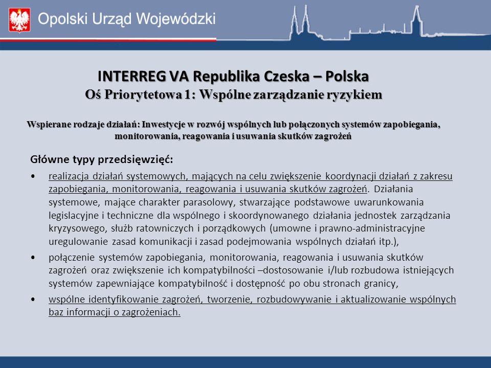 NTERREG VA Republika Czeska – Polska Oś Priorytetowa 1: Wspólne zarządzanie ryzykiem Wspierane rodzaje działań: Inwestycje w rozwój wspólnych lub połączonych systemów zapobiegania, monitorowania, reagowania i usuwania skutków zagrożeń INTERREG VA Republika Czeska – Polska Oś Priorytetowa 1: Wspólne zarządzanie ryzykiem Wspierane rodzaje działań: Inwestycje w rozwój wspólnych lub połączonych systemów zapobiegania, monitorowania, reagowania i usuwania skutków zagrożeń Główne typy przedsięwzięć: realizacja działań systemowych, mających na celu zwiększenie koordynacji działań z zakresu zapobiegania, monitorowania, reagowania i usuwania skutków zagrożeń.
