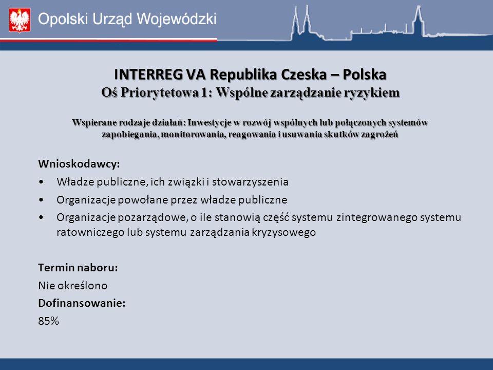 Wnioskodawcy: Władze publiczne, ich związki i stowarzyszenia Organizacje powołane przez władze publiczne Organizacje pozarządowe, o ile stanowią część systemu zintegrowanego systemu ratowniczego lub systemu zarządzania kryzysowego Termin naboru: Nie określono Dofinansowanie: 85% NTERREG VA Republika Czeska – Polska Oś Priorytetowa 1: Wspólne zarządzanie ryzykiem Wspierane rodzaje działań: Inwestycje w rozwój wspólnych lub połączonych systemów zapobiegania, monitorowania, reagowania i usuwania skutków zagrożeń INTERREG VA Republika Czeska – Polska Oś Priorytetowa 1: Wspólne zarządzanie ryzykiem Wspierane rodzaje działań: Inwestycje w rozwój wspólnych lub połączonych systemów zapobiegania, monitorowania, reagowania i usuwania skutków zagrożeń