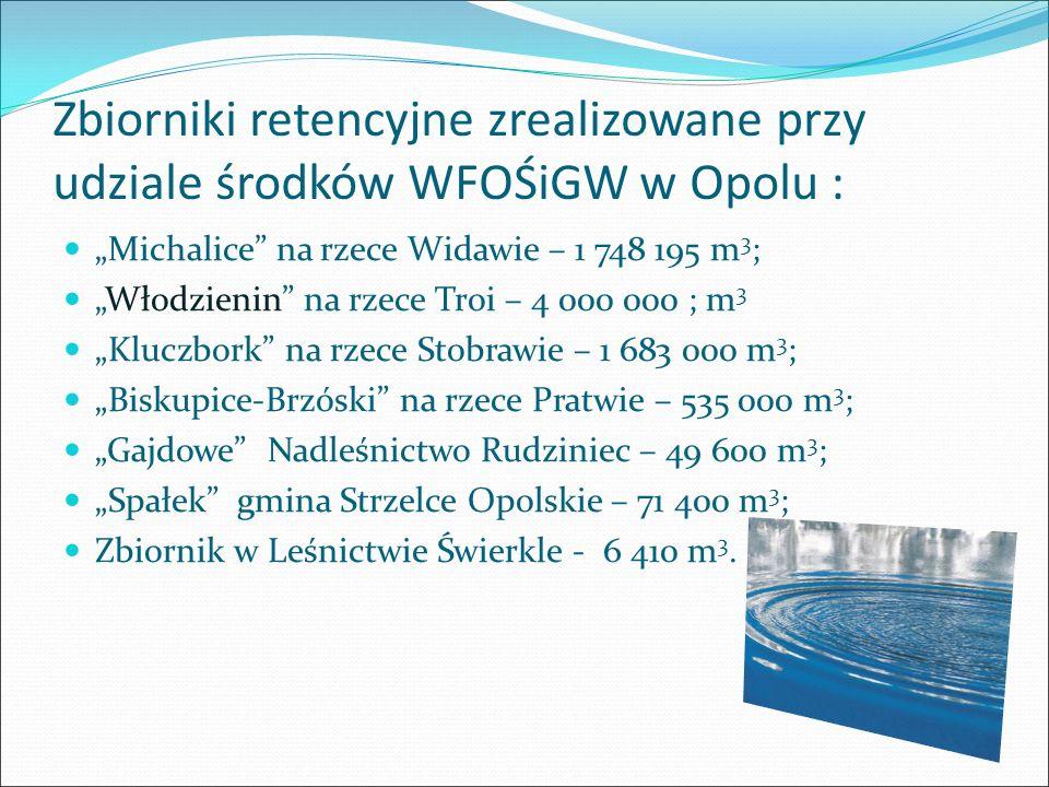 """Zbiorniki retencyjne zrealizowane przy udziale środków WFOŚiGW w Opolu : """"Michalice"""" na rzece Widawie – 1 748 195 m 3 ; """"Włodzienin"""" na rzece Troi – 4"""