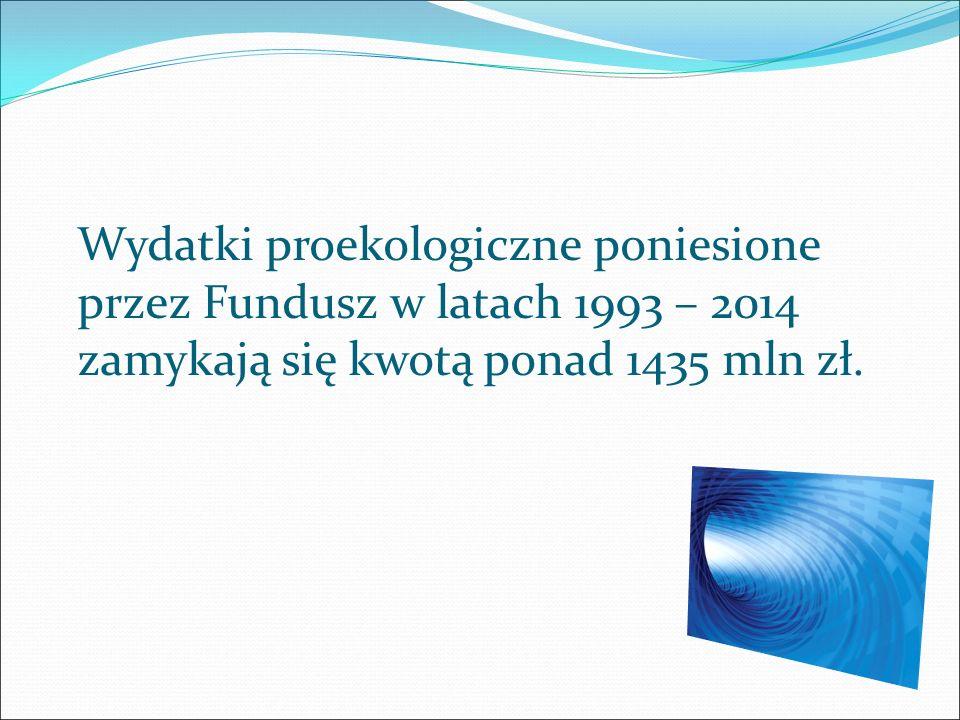 Wydatki proekologiczne poniesione przez Fundusz w latach 1993 – 2014 zamykają się kwotą ponad 1435 mln zł.
