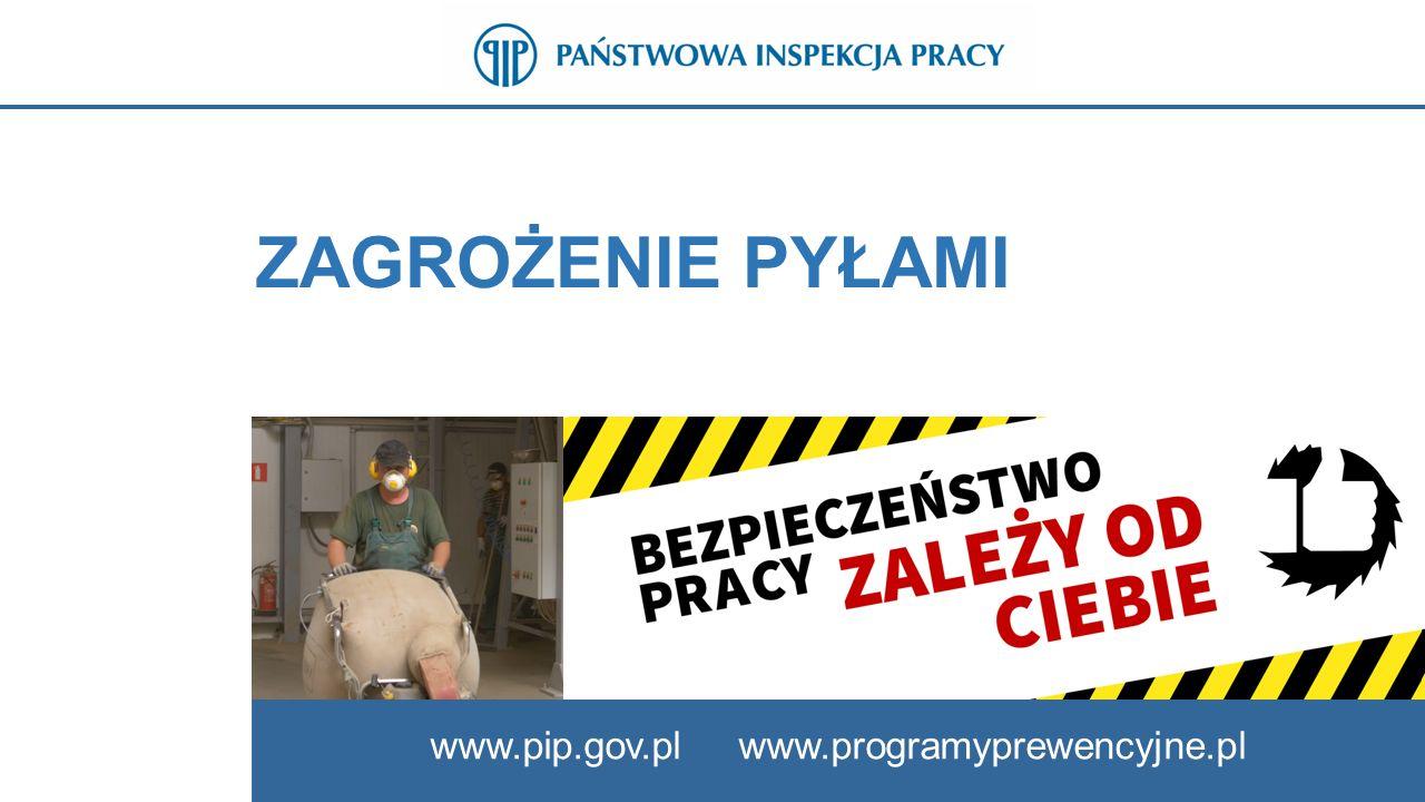 22 ZAGROŻENIA ZWIĄZANE Z NARAŻENIEM NA PYŁY www.pip.gov.pl Do najczęściej spotykanych chorób wywołanych oddziaływaniem pyłów należą:  Pylica płuc,  Krzemica płuc,  Nowotwory złośliwe układu oddechowego,  Przewlekłe zapalenia oskrzeli,  Przewlekłe nieżyty błon śluzowych nosa, krtani i tchawicy.