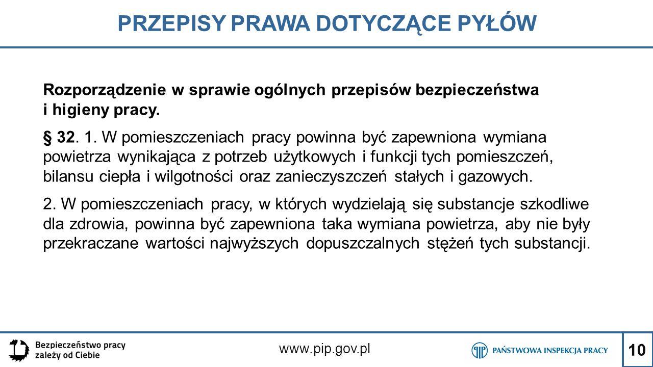 10 PRZEPISY PRAWA DOTYCZĄCE PYŁÓW www.pip.gov.pl Rozporządzenie w sprawie ogólnych przepisów bezpieczeństwa i higieny pracy. § 32. 1. W pomieszczeniac