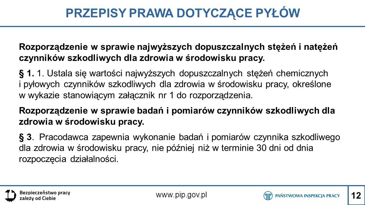 12 PRZEPISY PRAWA DOTYCZĄCE PYŁÓW www.pip.gov.pl Rozporządzenie w sprawie najwyższych dopuszczalnych stężeń i natężeń czynników szkodliwych dla zdrowi