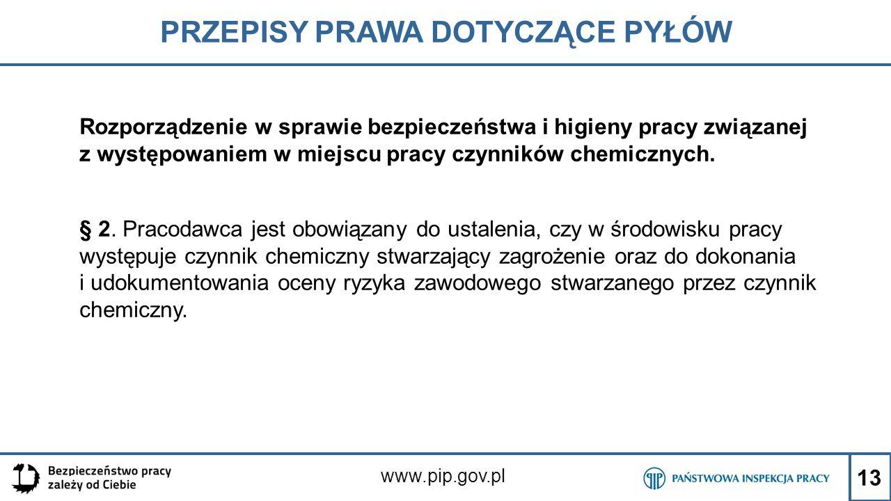 13 PRZEPISY PRAWA DOTYCZĄCE PYŁÓW www.pip.gov.pl Rozporządzenie w sprawie bezpieczeństwa i higieny pracy związanej z występowaniem w miejscu pracy czy