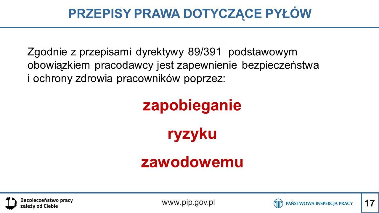 17 PRZEPISY PRAWA DOTYCZĄCE PYŁÓW www.pip.gov.pl Zgodnie z przepisami dyrektywy 89/391 podstawowym obowiązkiem pracodawcy jest zapewnienie bezpieczeńs