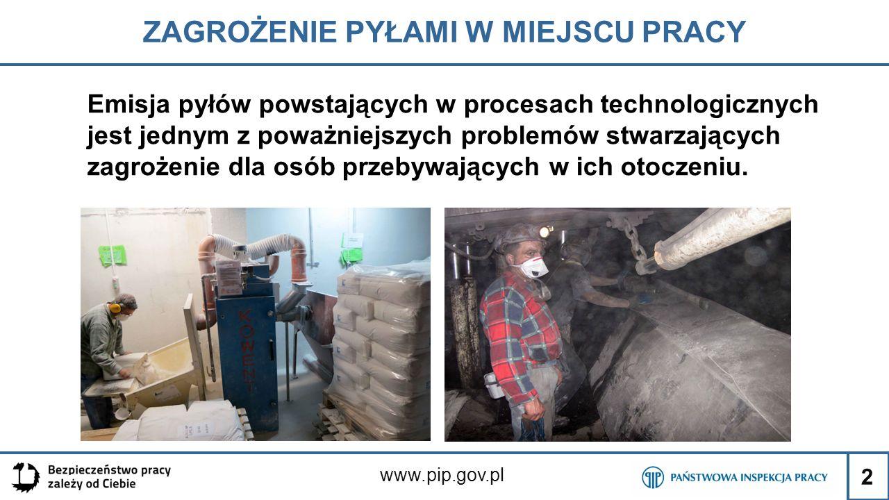 2 ZAGROŻENIE PYŁAMI W MIEJSCU PRACY www.pip.gov.pl Emisja pyłów powstających w procesach technologicznych jest jednym z poważniejszych problemów stwar