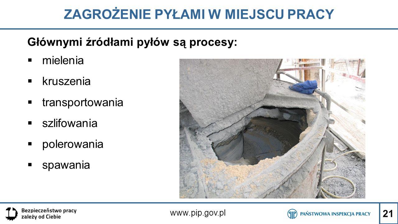 21 ZAGROŻENIE PYŁAMI W MIEJSCU PRACY www.pip.gov.pl Głównymi źródłami pyłów są procesy:  mielenia  kruszenia  transportowania  szlifowania  poler