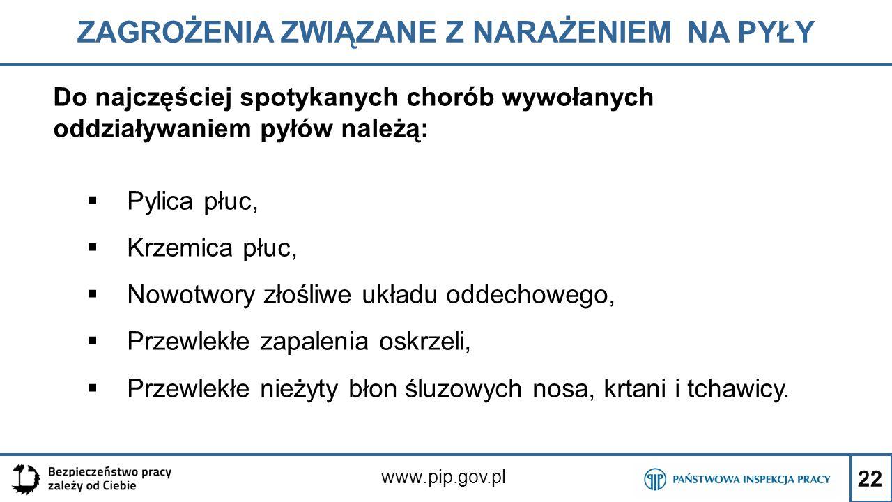 22 ZAGROŻENIA ZWIĄZANE Z NARAŻENIEM NA PYŁY www.pip.gov.pl Do najczęściej spotykanych chorób wywołanych oddziaływaniem pyłów należą:  Pylica płuc, 