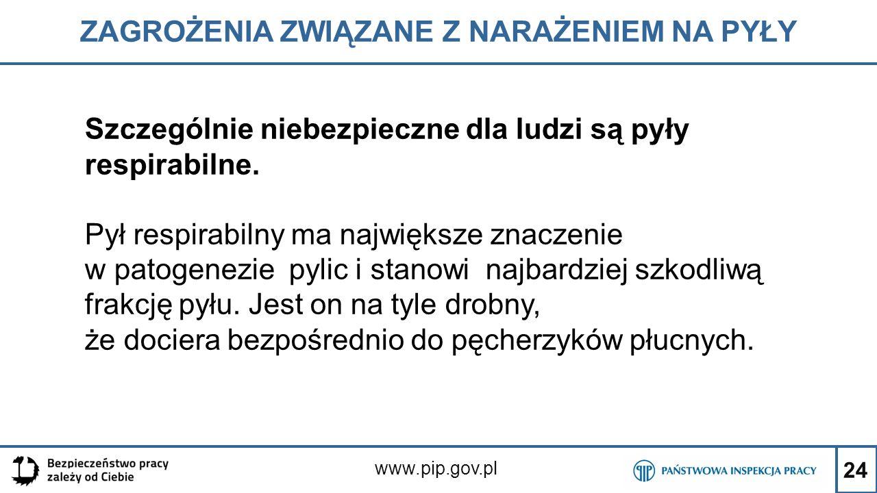 24 ZAGROŻENIA ZWIĄZANE Z NARAŻENIEM NA PYŁY www.pip.gov.pl Szczególnie niebezpieczne dla ludzi są pyły respirabilne. Pył respirabilny ma największe zn