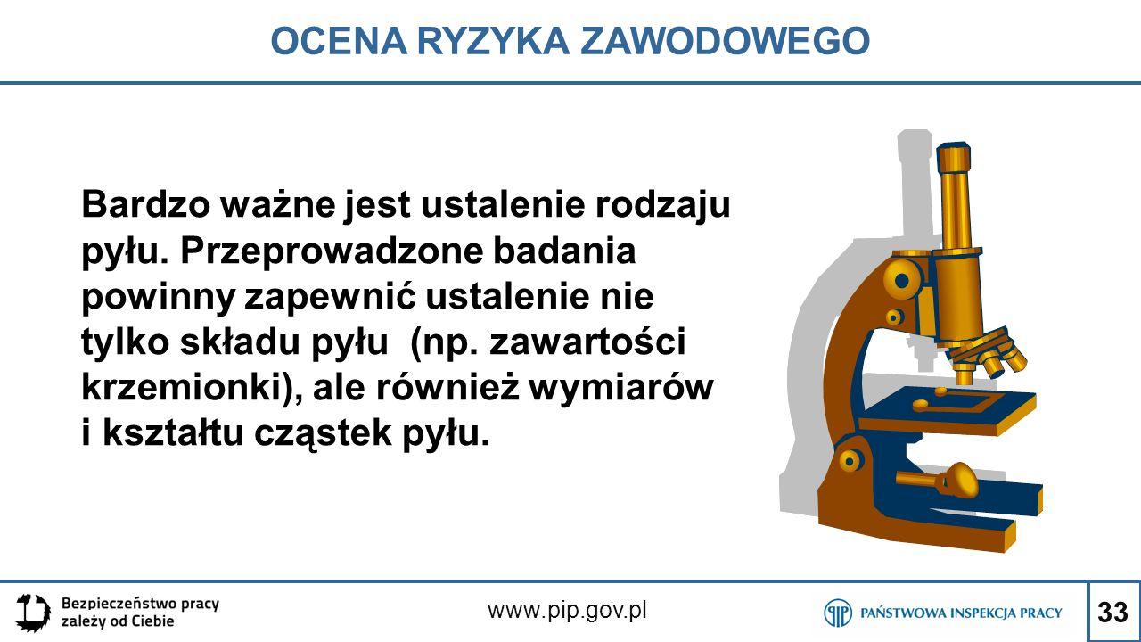 33 OCENA RYZYKA ZAWODOWEGO www.pip.gov.pl Bardzo ważne jest ustalenie rodzaju pyłu. Przeprowadzone badania powinny zapewnić ustalenie nie tylko składu