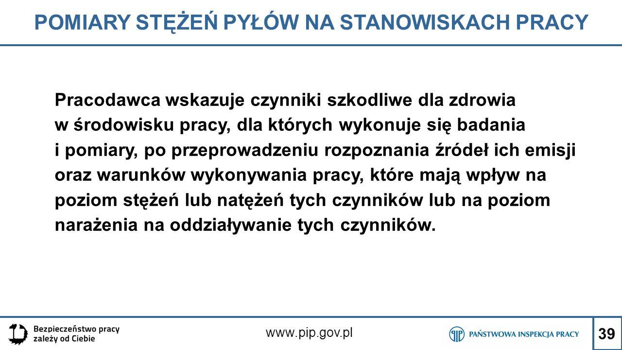 39 POMIARY STĘŻEŃ PYŁÓW NA STANOWISKACH PRACY www.pip.gov.pl Pracodawca wskazuje czynniki szkodliwe dla zdrowia w środowisku pracy, dla których wykonu