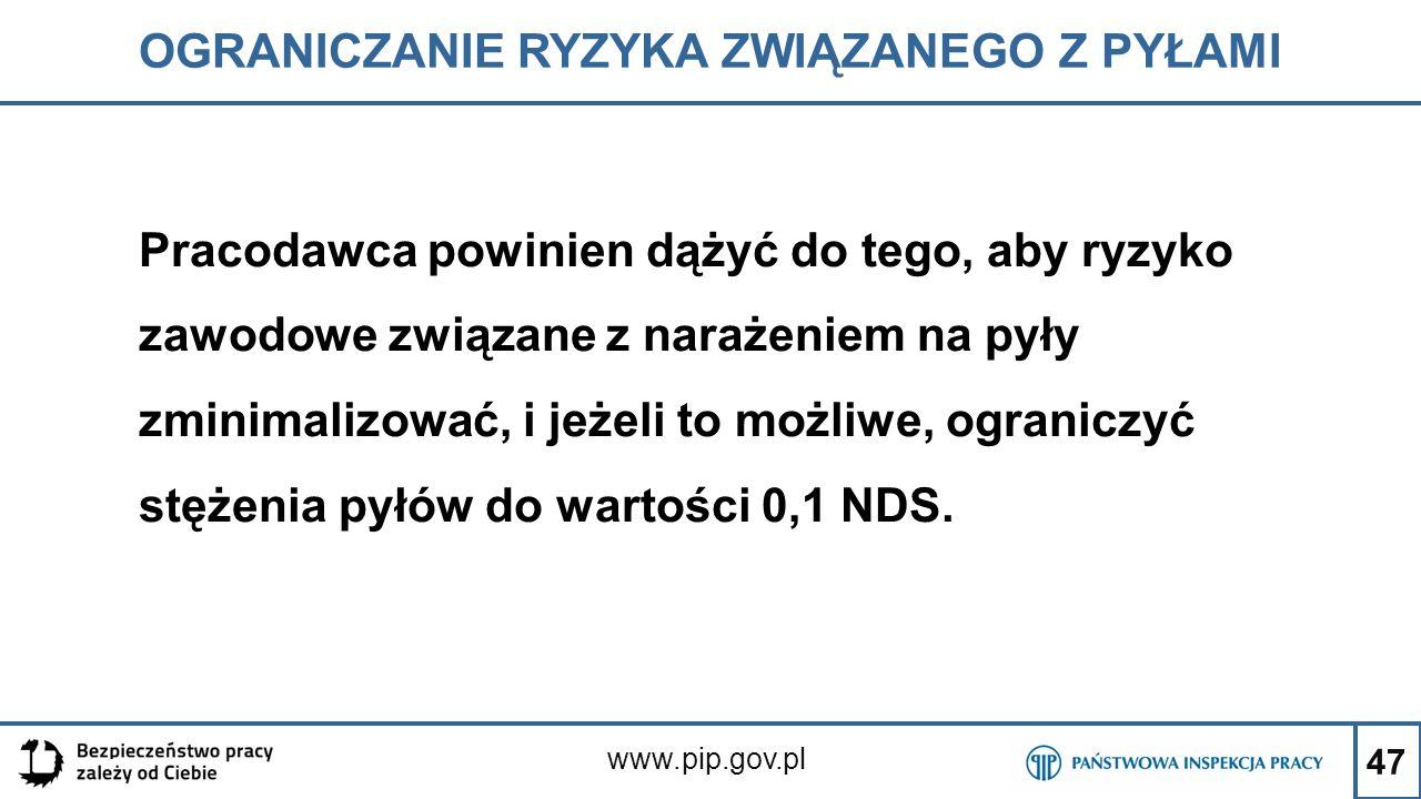 47 OGRANICZANIE RYZYKA ZWIĄZANEGO Z PYŁAMI www.pip.gov.pl Pracodawca powinien dążyć do tego, aby ryzyko zawodowe związane z narażeniem na pyły zminima
