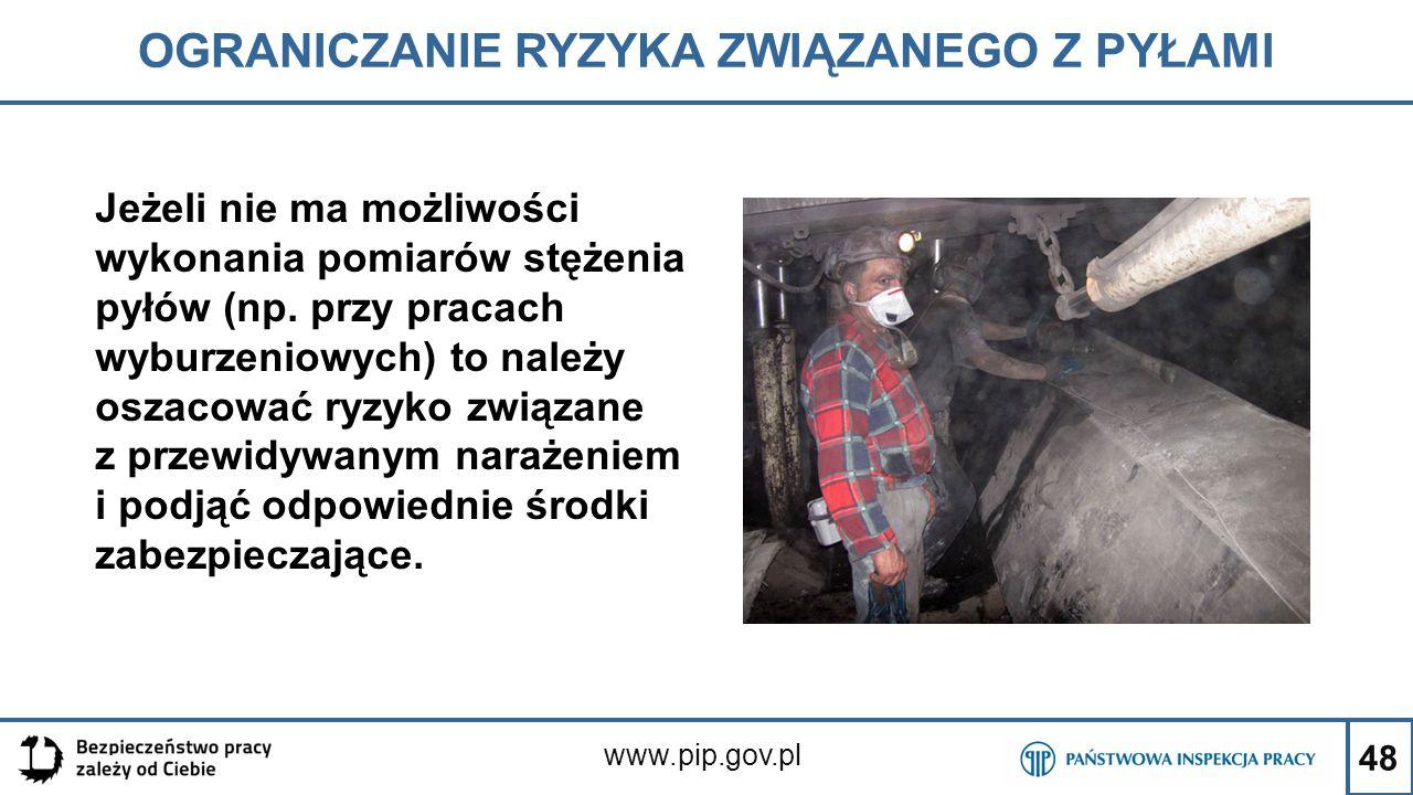48 OGRANICZANIE RYZYKA ZWIĄZANEGO Z PYŁAMI www.pip.gov.pl Jeżeli nie ma możliwości wykonania pomiarów stężenia pyłów (np. przy pracach wyburzeniowych)