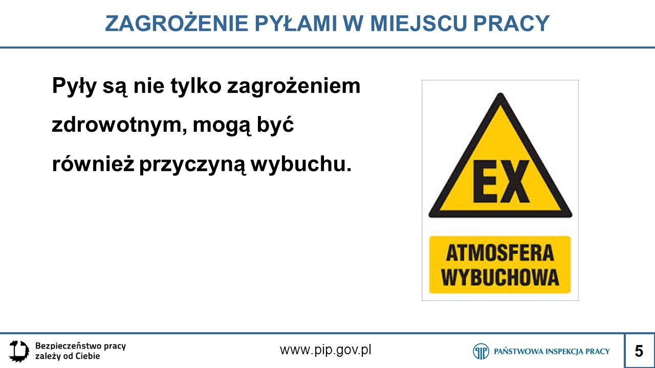 5 ZAGROŻENIE PYŁAMI W MIEJSCU PRACY www.pip.gov.pl Pyły są nie tylko zagrożeniem zdrowotnym, mogą być również przyczyną wybuchu.