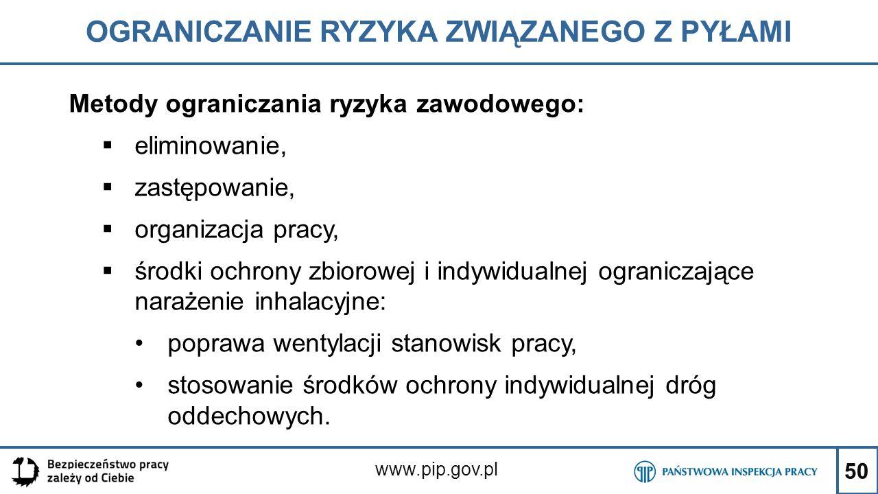 50 OGRANICZANIE RYZYKA ZWIĄZANEGO Z PYŁAMI www.pip.gov.pl Metody ograniczania ryzyka zawodowego:  eliminowanie,  zastępowanie,  organizacja pracy,