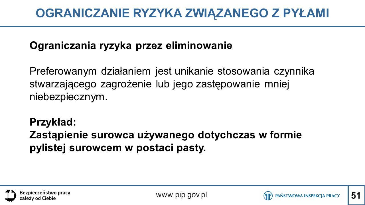 51 OGRANICZANIE RYZYKA ZWIĄZANEGO Z PYŁAMI www.pip.gov.pl Ograniczania ryzyka przez eliminowanie Preferowanym działaniem jest unikanie stosowania czyn