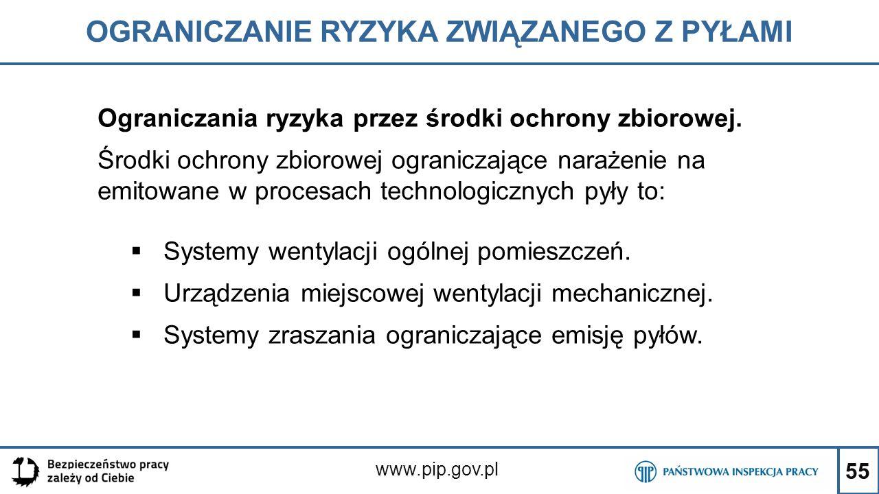 55 OGRANICZANIE RYZYKA ZWIĄZANEGO Z PYŁAMI www.pip.gov.pl Ograniczania ryzyka przez środki ochrony zbiorowej. Środki ochrony zbiorowej ograniczające n