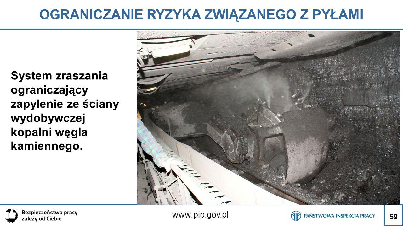 59 OGRANICZANIE RYZYKA ZWIĄZANEGO Z PYŁAMI www.pip.gov.pl System zraszania ograniczający zapylenie ze ściany wydobywczej kopalni węgla kamiennego. 59