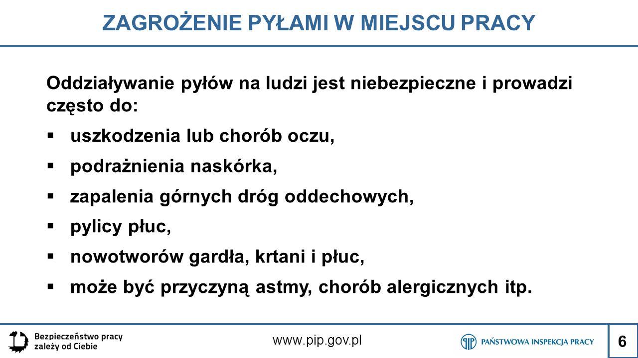 6 ZAGROŻENIE PYŁAMI W MIEJSCU PRACY www.pip.gov.pl Oddziaływanie pyłów na ludzi jest niebezpieczne i prowadzi często do:  uszkodzenia lub chorób oczu