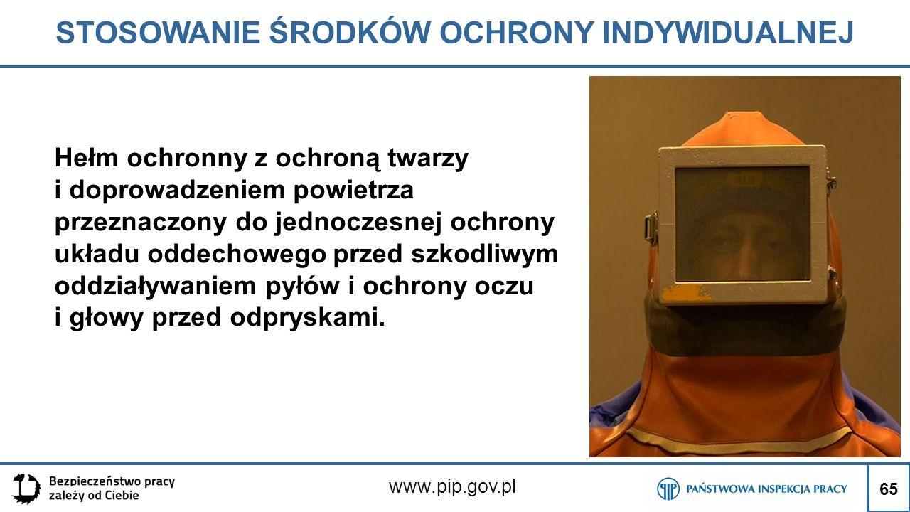 65 STOSOWANIE ŚRODKÓW OCHRONY INDYWIDUALNEJ www.pip.gov.pl Hełm ochronny z ochroną twarzy i doprowadzeniem powietrza przeznaczony do jednoczesnej ochr
