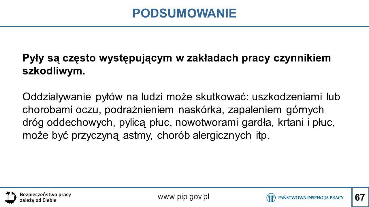 67 PODSUMOWANIE www.pip.gov.pl Pyły są często występującym w zakładach pracy czynnikiem szkodliwym. Oddziaływanie pyłów na ludzi może skutkować: uszko