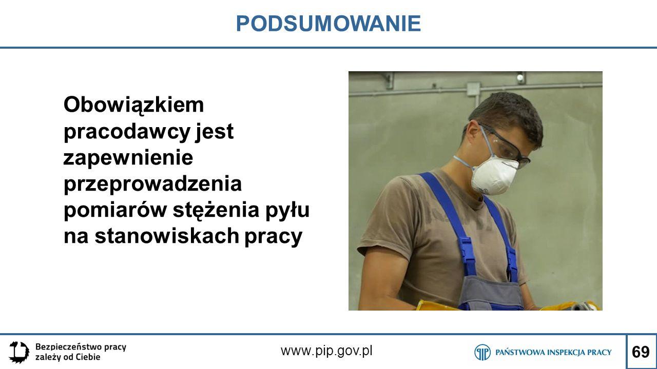 69 PODSUMOWANIE www.pip.gov.pl Obowiązkiem pracodawcy jest zapewnienie przeprowadzenia pomiarów stężenia pyłu na stanowiskach pracy